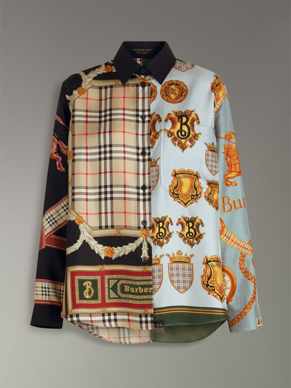 Archive Scarf Print Silk Shirt in Airforce Blue - Women | Burberry United Kingdom - cell image 3