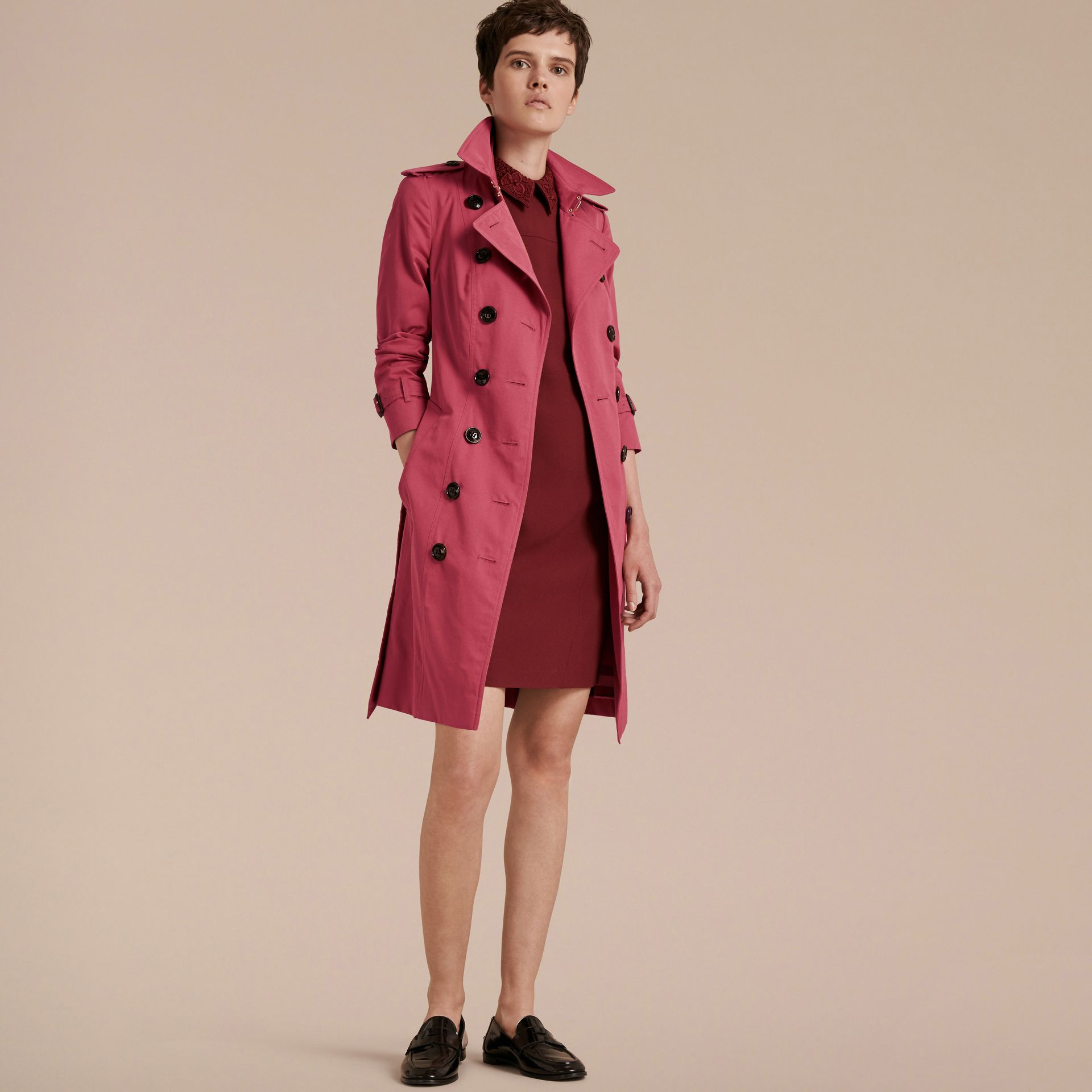 Bright copper pink Cotton Gabardine Trench Coat - gallery image 7