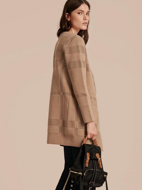 Mel Jaqueta de malha de lã e cashmere com estampa xadrez - cell image 2