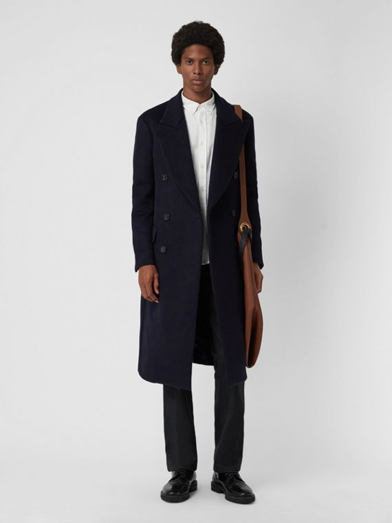 Double-faced Cashmere Tailored Coat in Navy