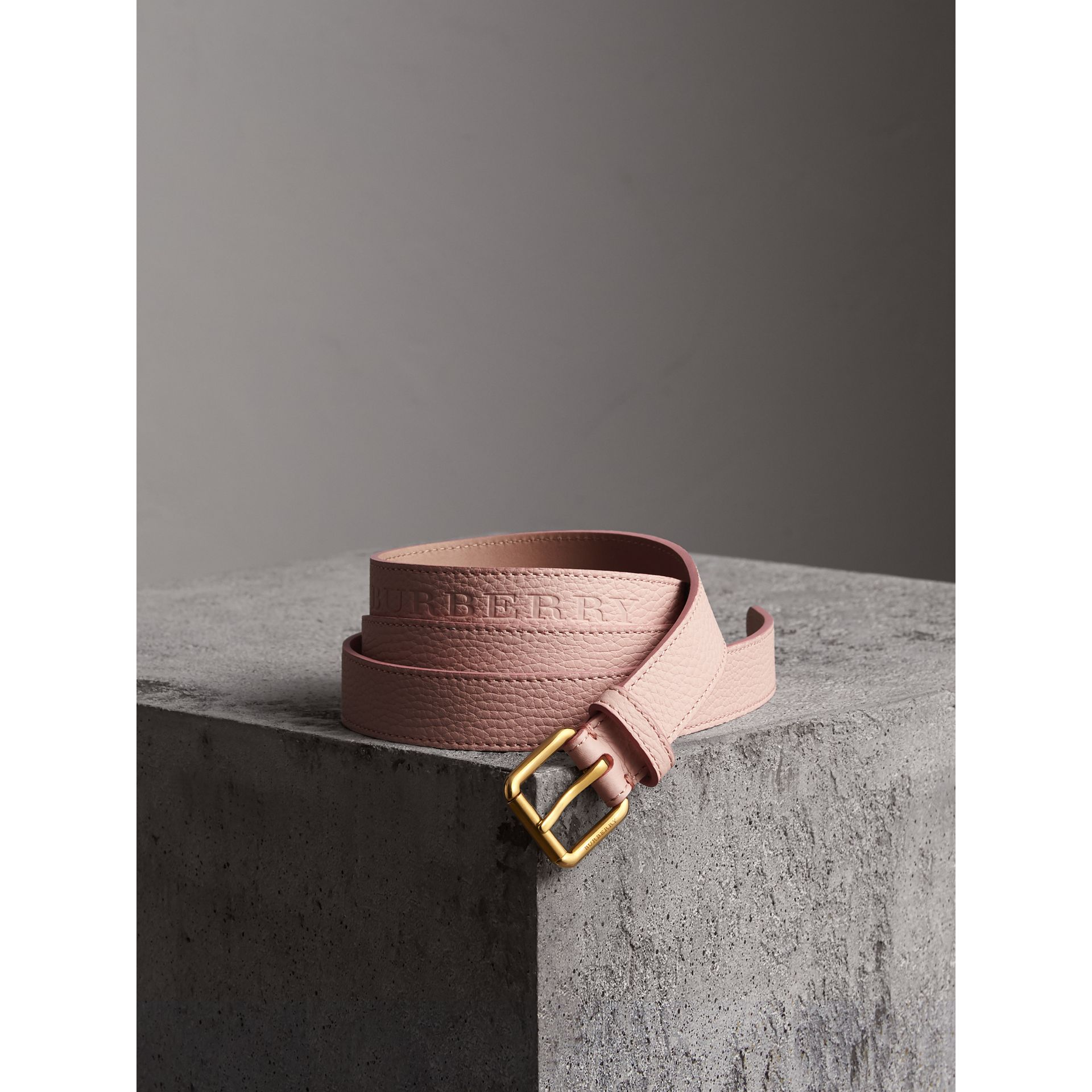 Embossed Leather Belt in Pale Ash Rose - Women | Burberry - gallery image 1