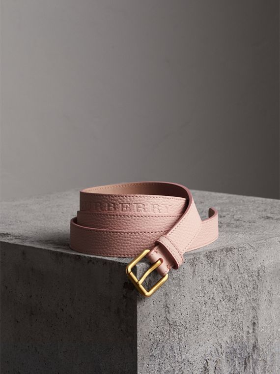 Embossed Leather Belt in Pale Ash Rose