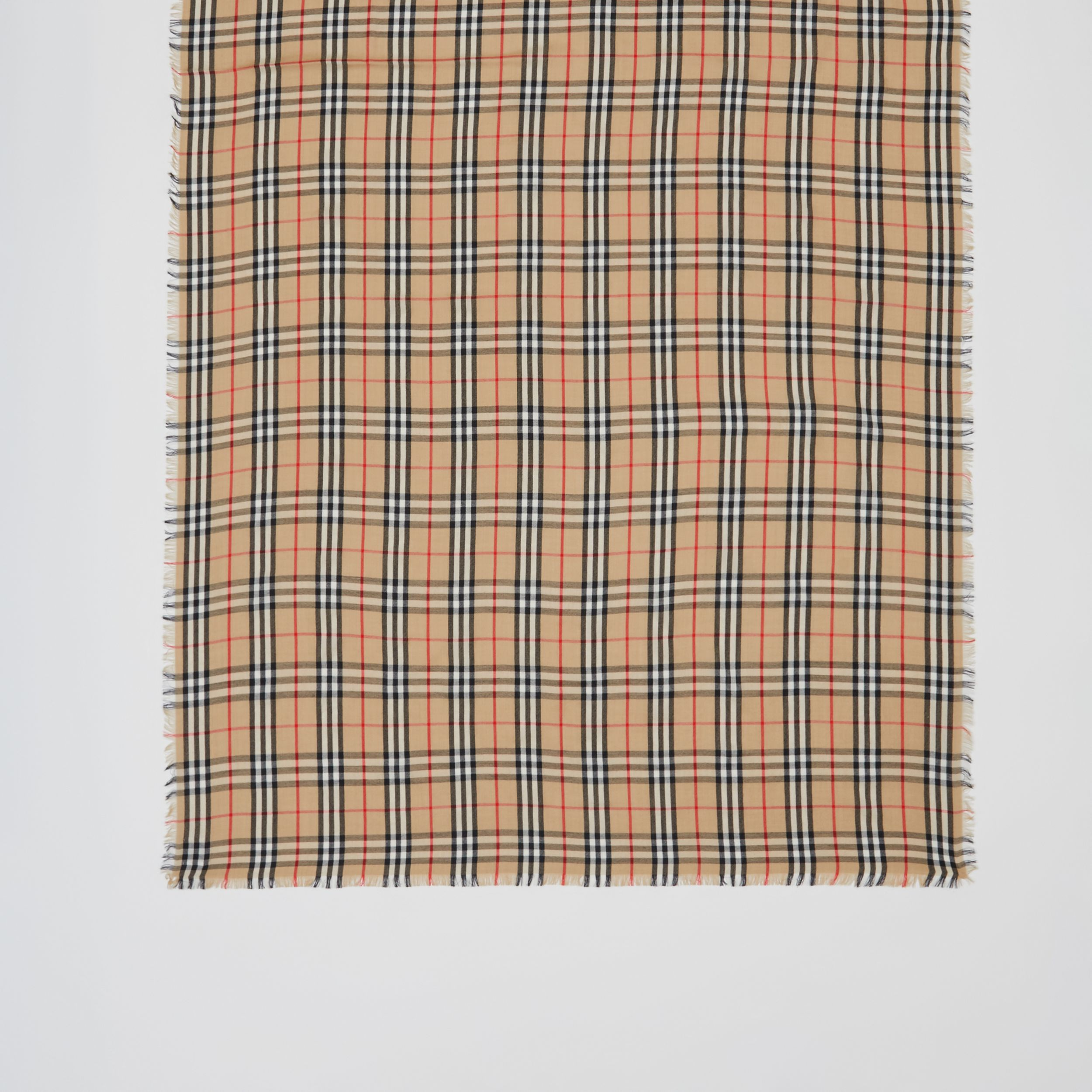 Vintage Check Lightweight Cashmere Scarf in Archive Beige | Burberry - 4
