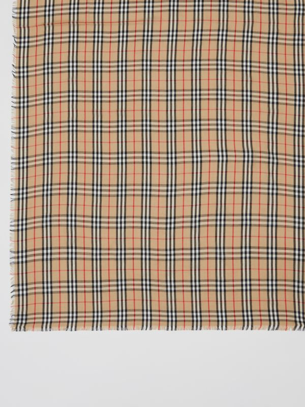 Vintage Check Lightweight Cashmere Scarf in Archive Beige | Burberry - cell image 3