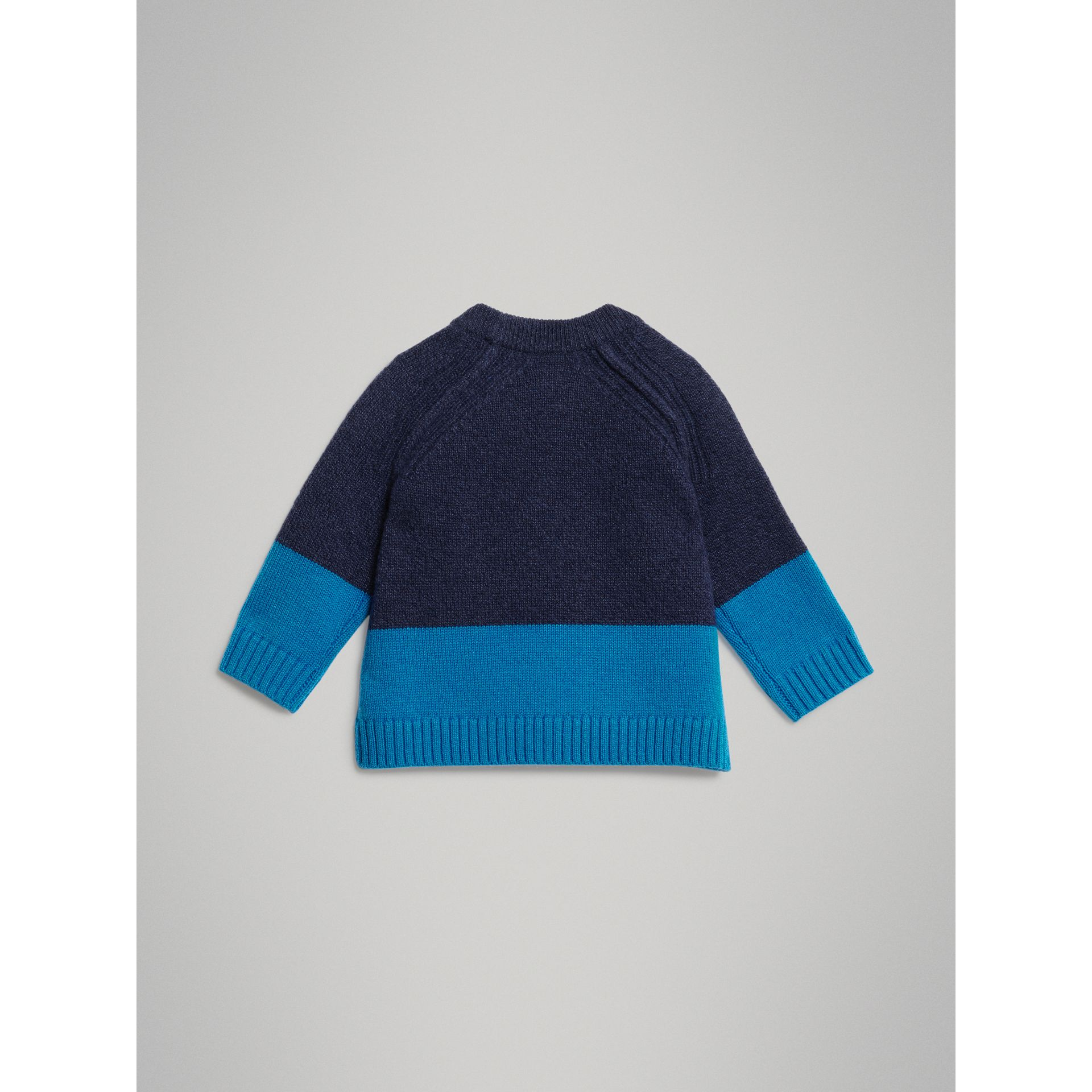Logo Intarsia Cashmere Sweater in Navy - Children | Burberry United Kingdom - gallery image 3