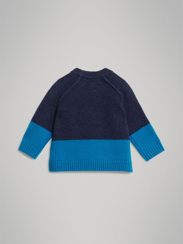 Logo Intarsia Cashmere Sweater in Navy - Children | Burberry Canada - cell image 3