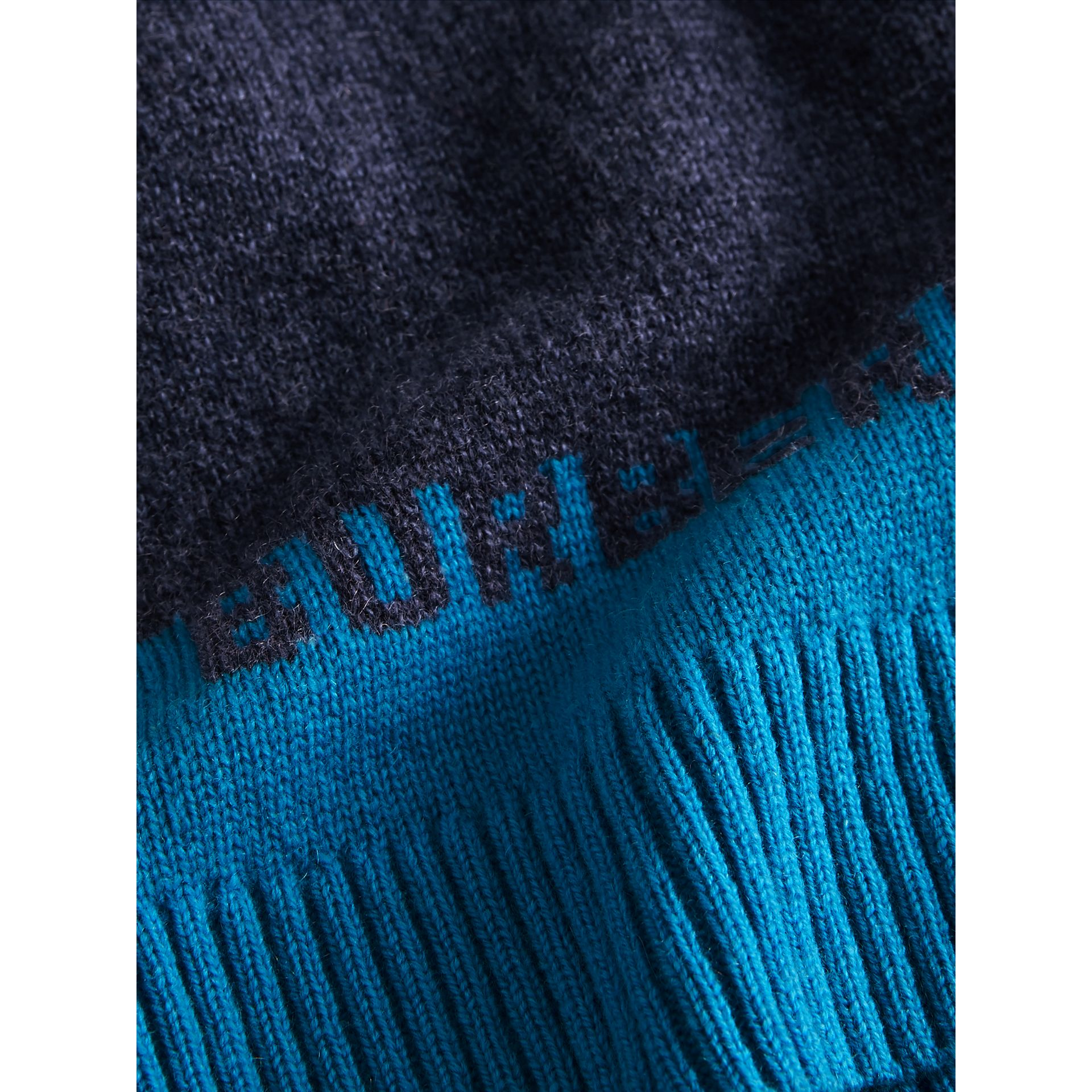 Logo Intarsia Cashmere Sweater in Navy | Burberry - gallery image 1