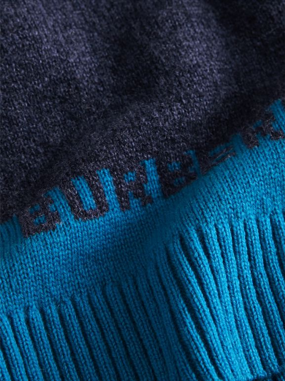 Logo Intarsia Cashmere Sweater in Navy | Burberry - cell image 1