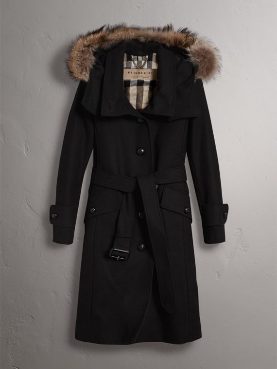 Hooded Wool Blend Coat with Detachable Fur Trim in Black - Women | Burberry Singapore - cell image 3
