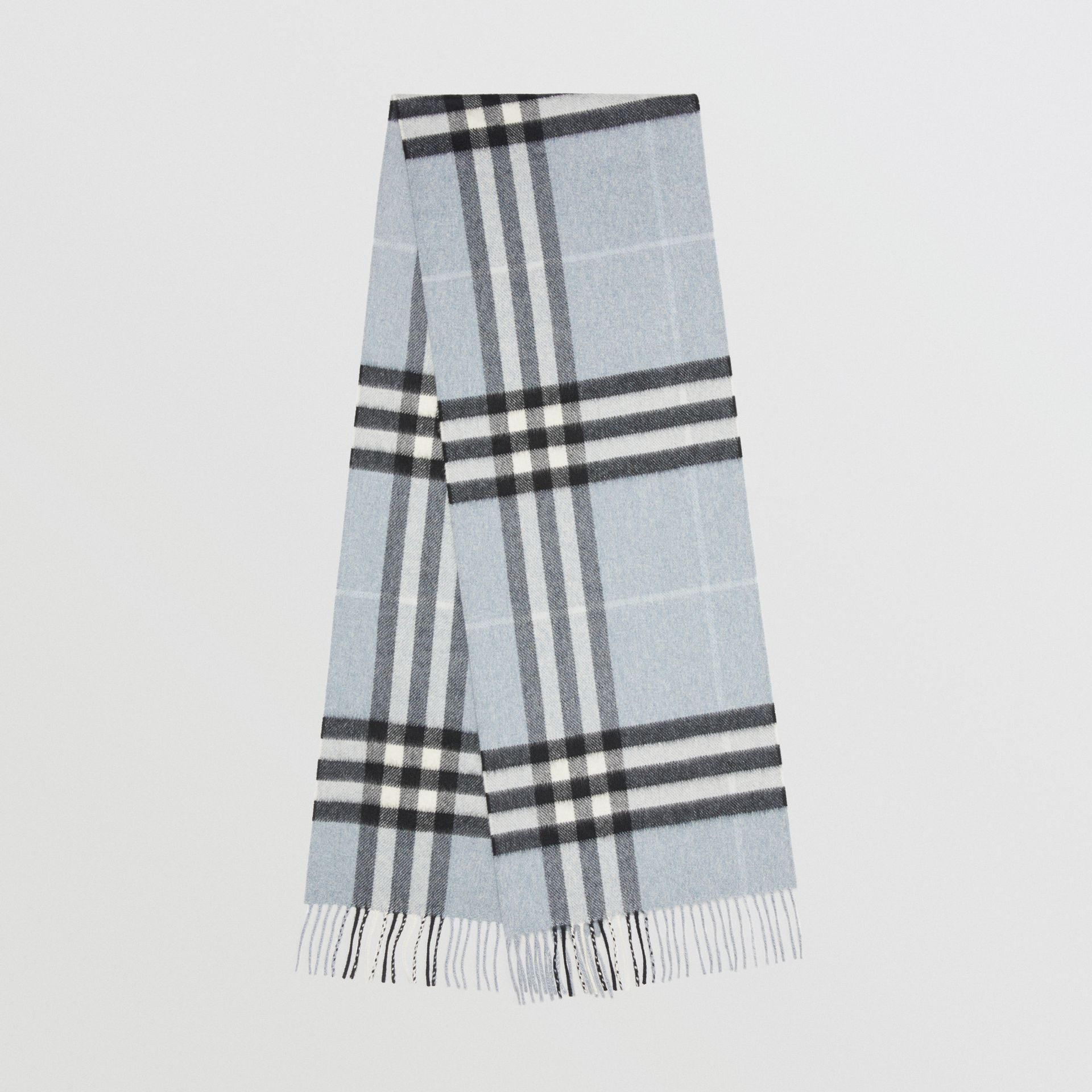 The Classic Cashmere Scarf in Check in Dusty Blue | Burberry Australia - gallery image 0