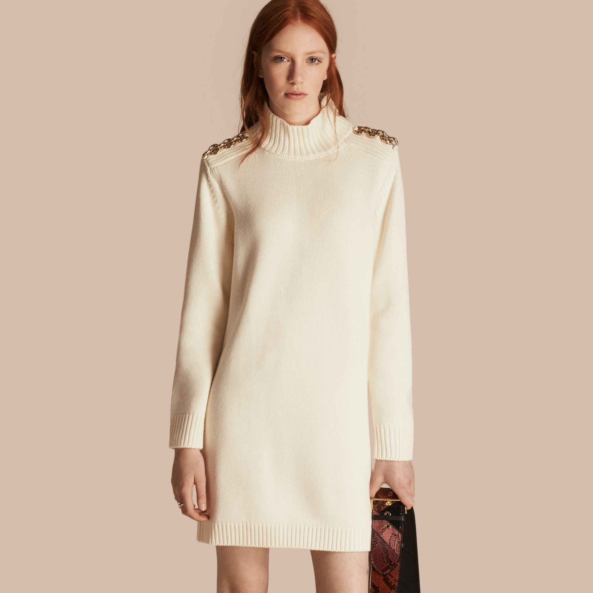Chain Detail Wool Cashmere High-neck Dress in Natural White - gallery image 1
