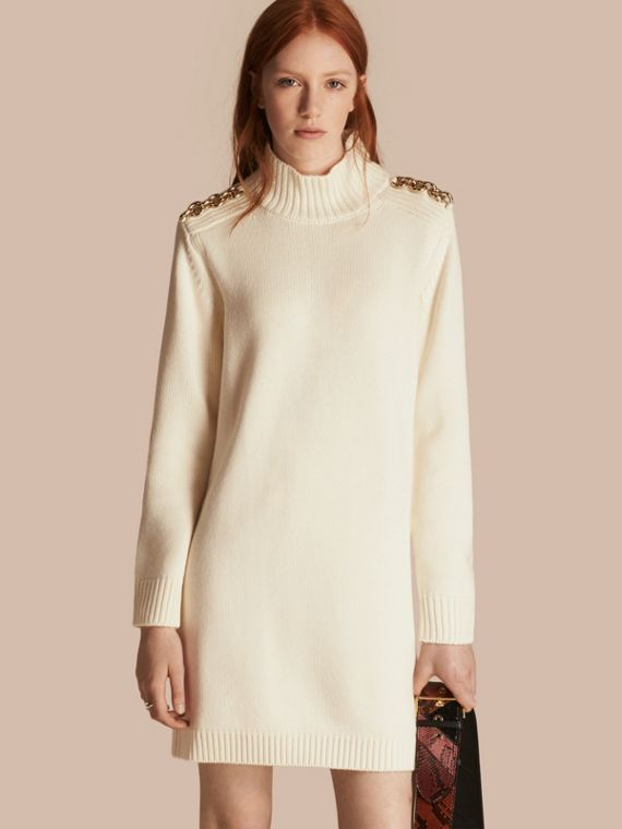 Chain Detail Wool Cashmere High-neck Dress in Natural White