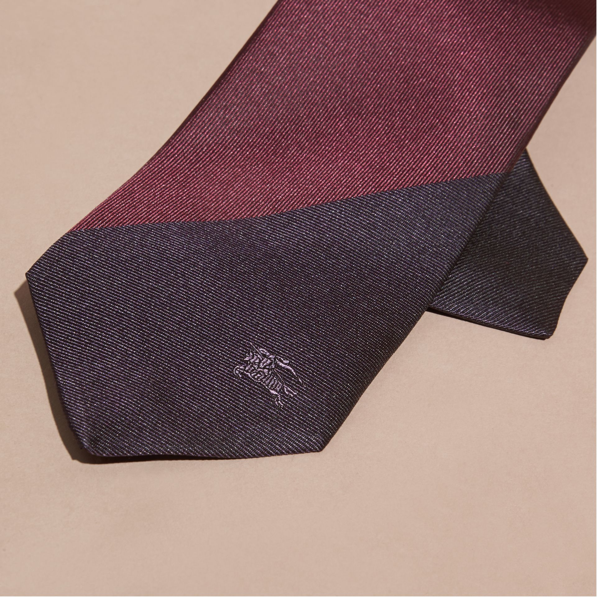 Purple Slim Cut Striped Jacquard Silk Tie Purple - gallery image 2