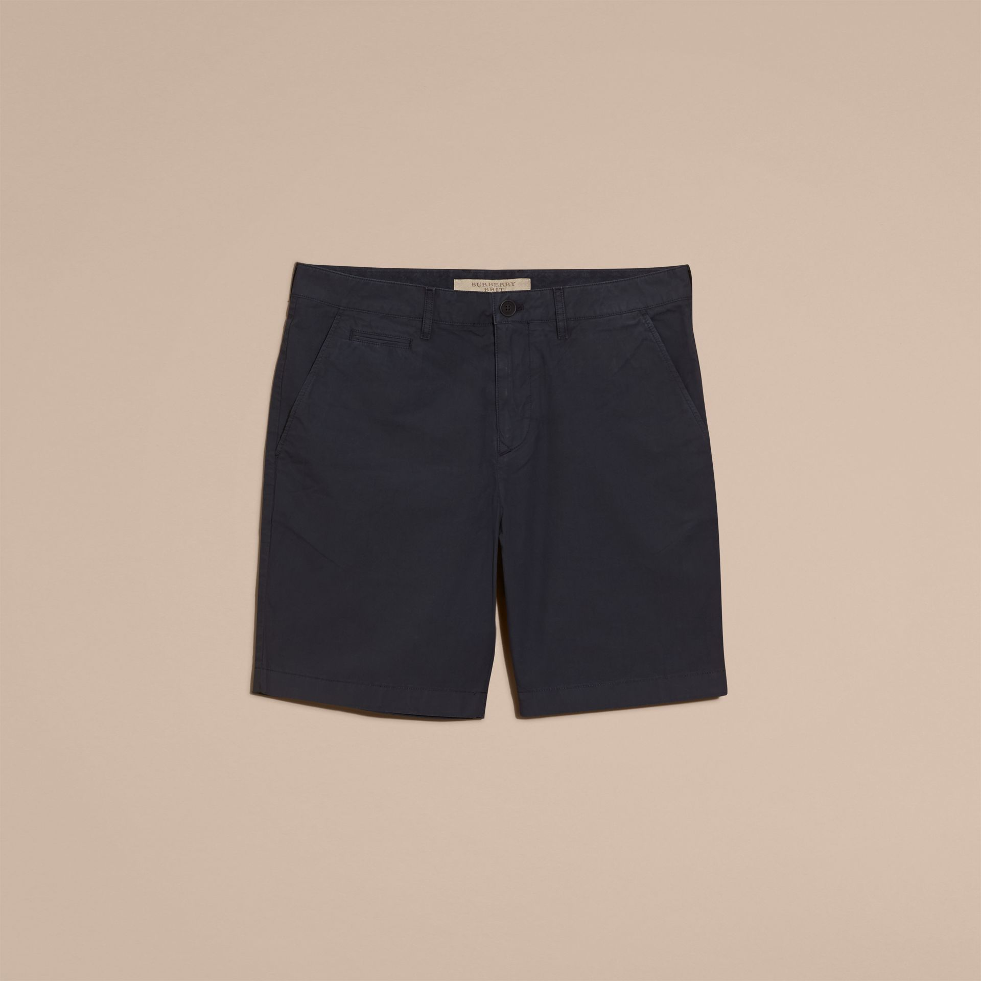 Indigo Cotton Poplin Chino Shorts Indigo - gallery image 4