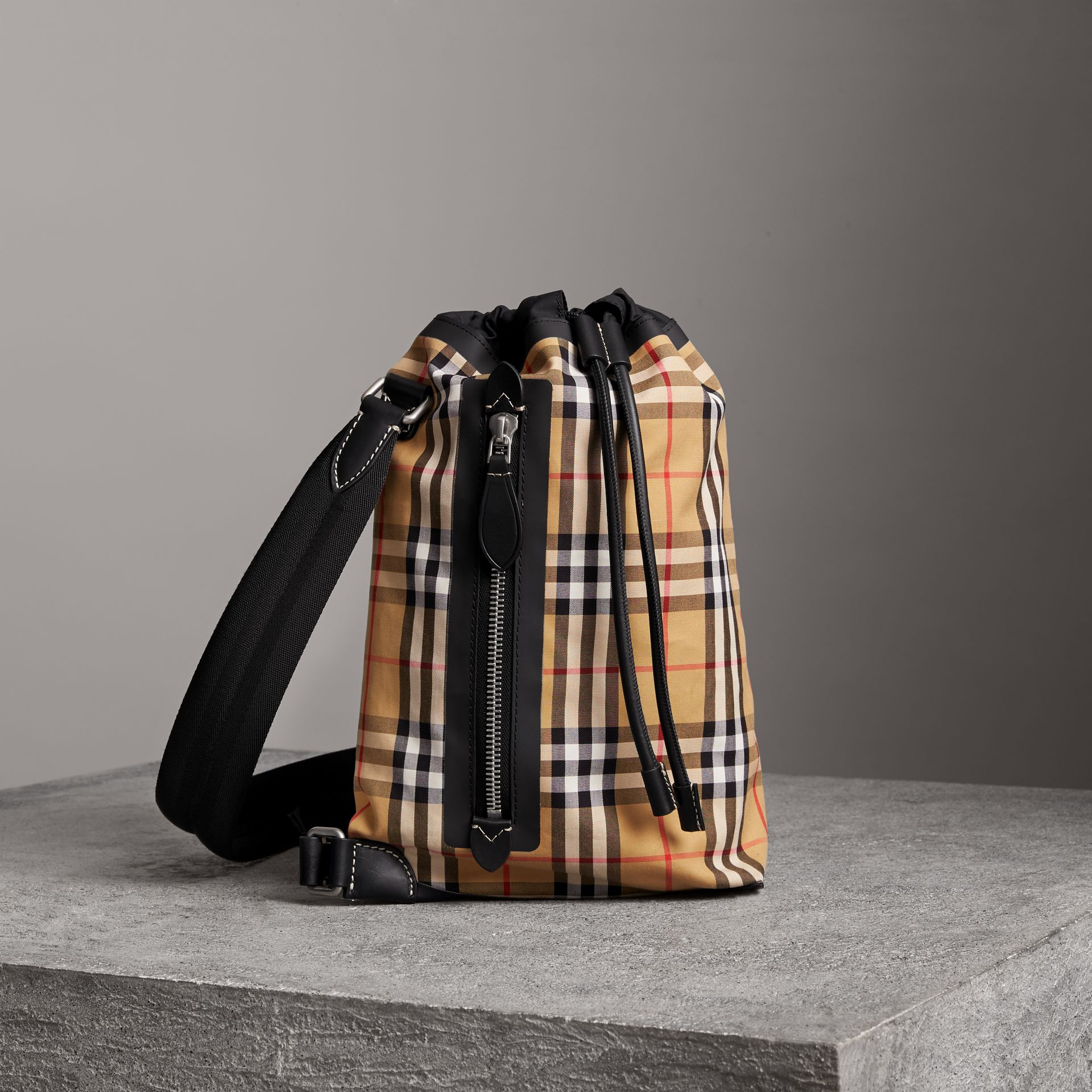 Small Vintage Check Cotton Duffle Bag in Antique Yellow - Women | Burberry - gallery image 0