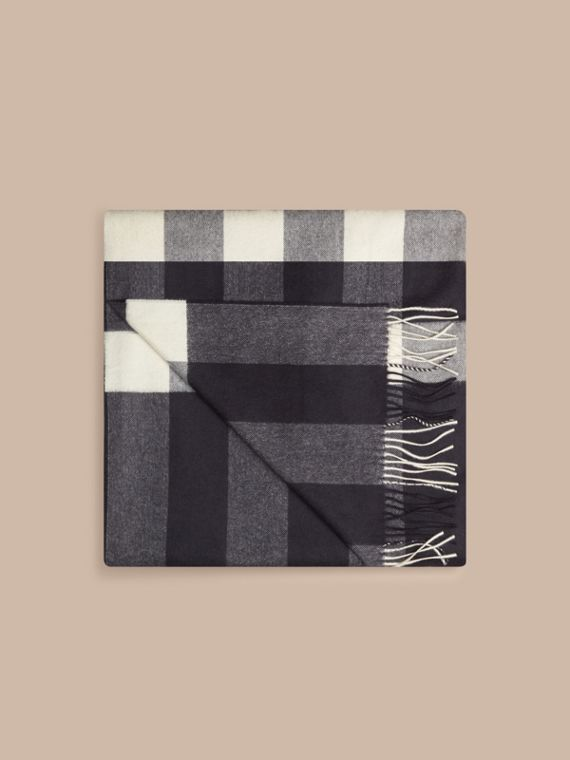 Check Cashmere Blanket in Navy | Burberry - cell image 3