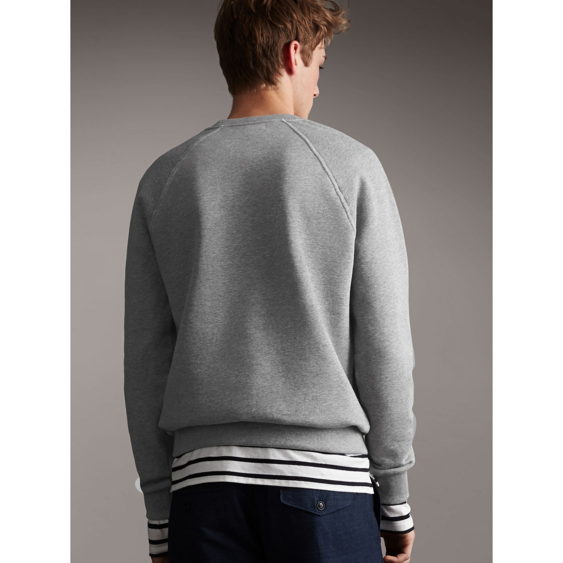 Embroidered Jersey Sweatshirt in Pale Grey Melange - Men | Burberry Australia - gallery image 2