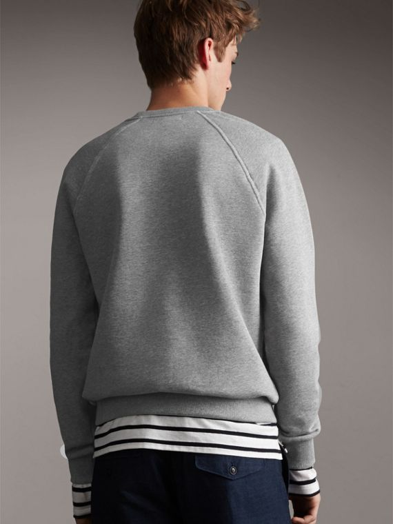 Embroidered Jersey Sweatshirt in Pale Grey Melange - Men | Burberry Australia - cell image 2