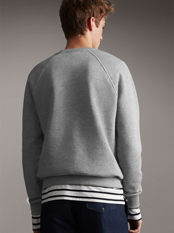 Embroidered Jersey Sweatshirt in Pale Grey Melange - Men | Burberry - cell image 2