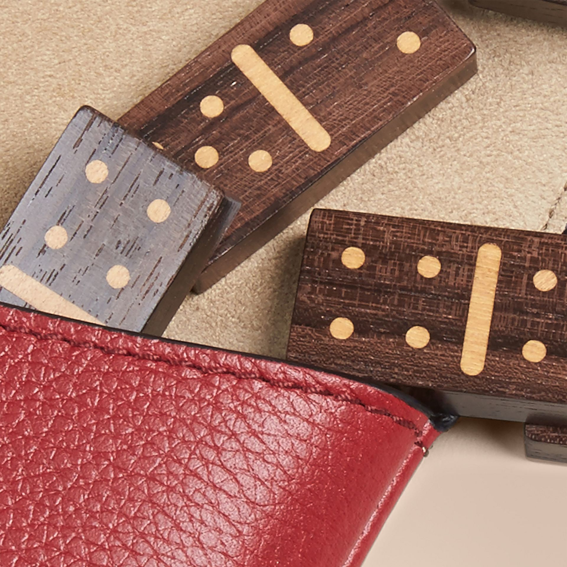 Wooden Domino Set with Grainy Leather Case in Parade Red - gallery image 2