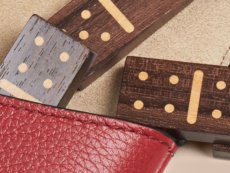 Wooden Domino Set with Grainy Leather Case in Parade Red - cell image 1