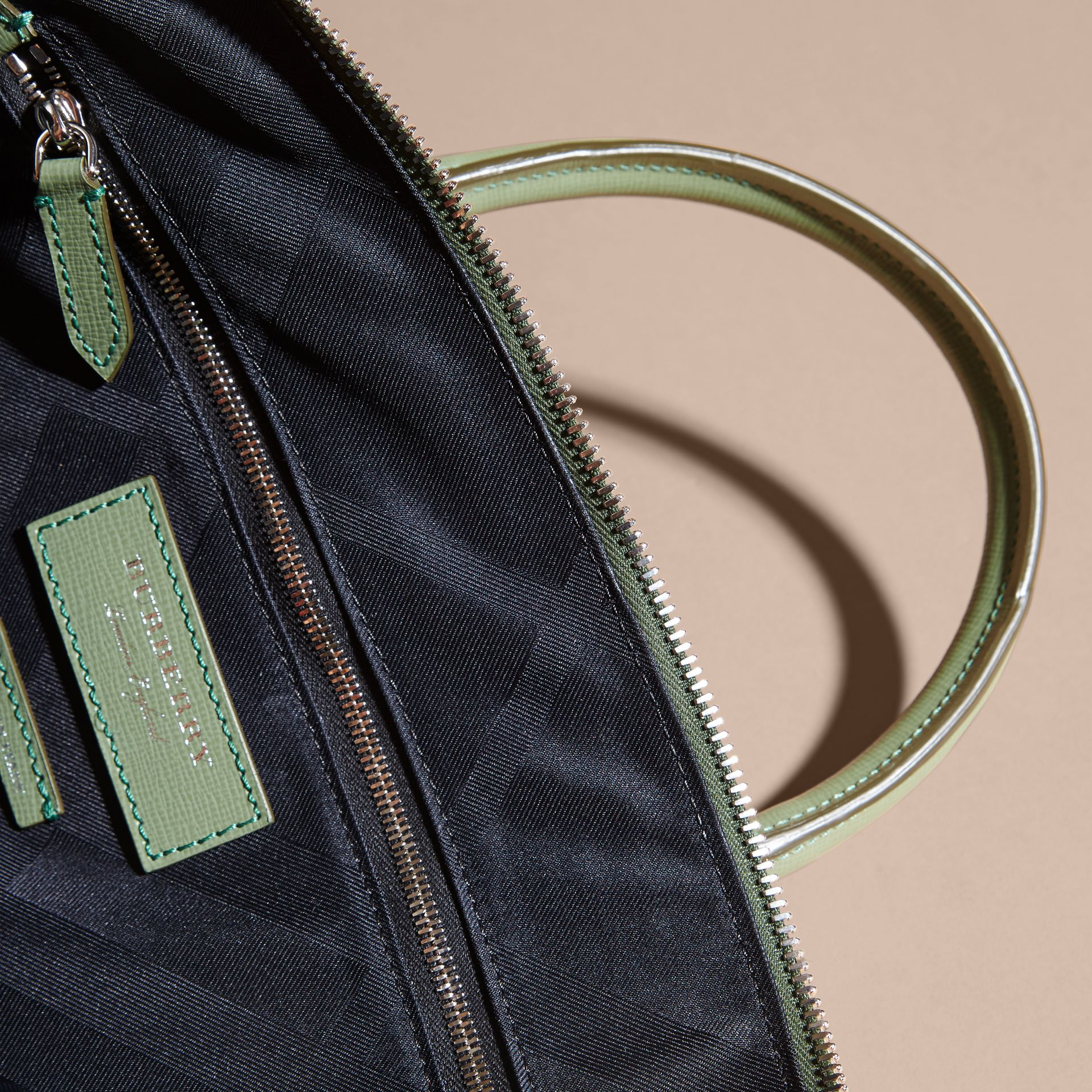 The Slim Barrow in London Leather in Antique Green - Men | Burberry - gallery image 6