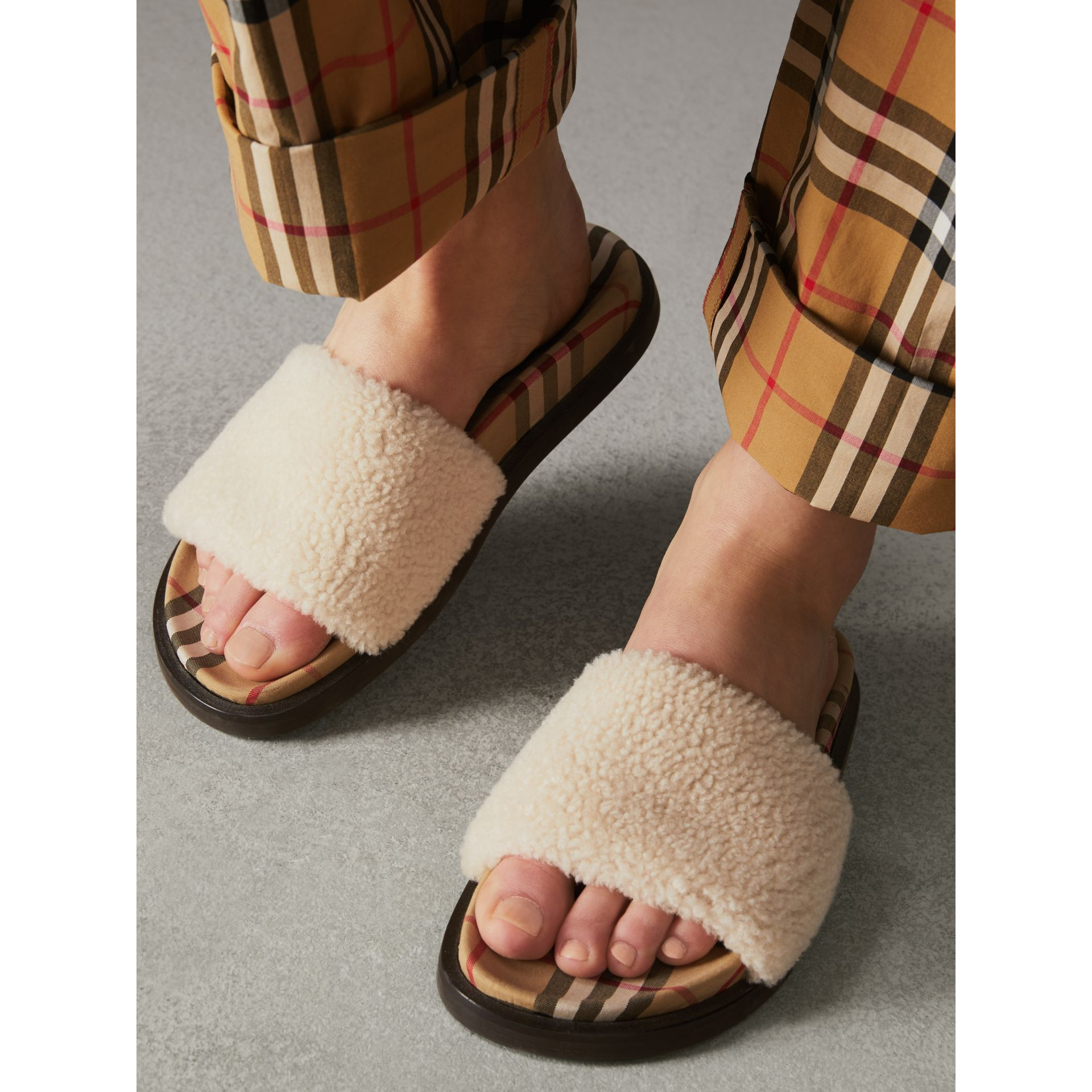 Shearling and Vintage Check Slides in Natural - Women | Burberry - gallery image 2
