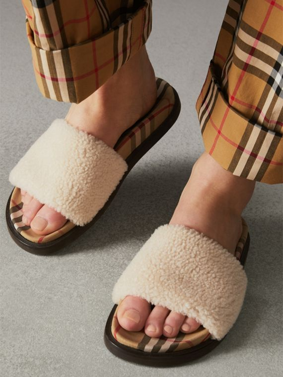 Shearling and Vintage Check Slides in Natural - Women | Burberry - cell image 2