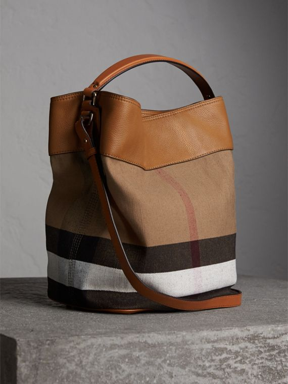 Sac The Ashby medium à motif Canvas check avec cuir (Marron Cigare) - Femme | Burberry - cell image 3