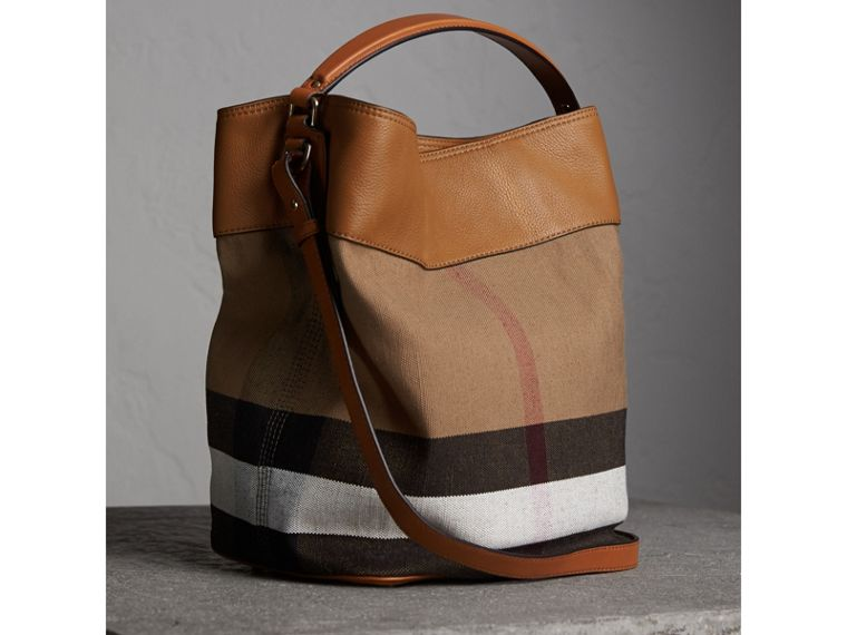 The Medium Ashby in Canvas Check and Leather in Saddle Brown - Women | Burberry - cell image 4