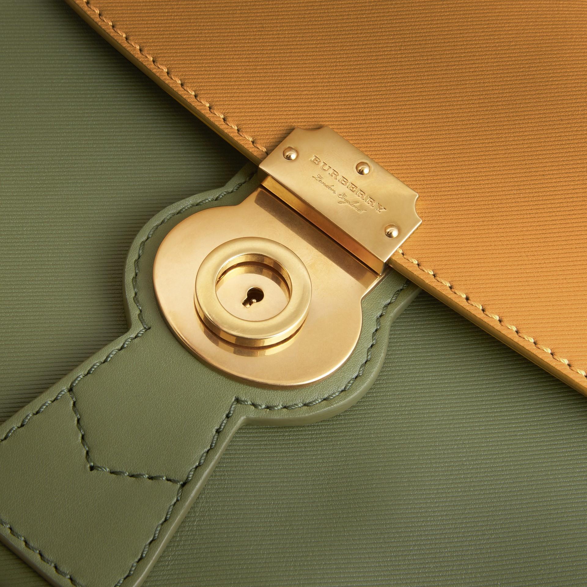 The Medium DK88 Top Handle Bag in Moss Green/ochre Yellow - gallery image 6
