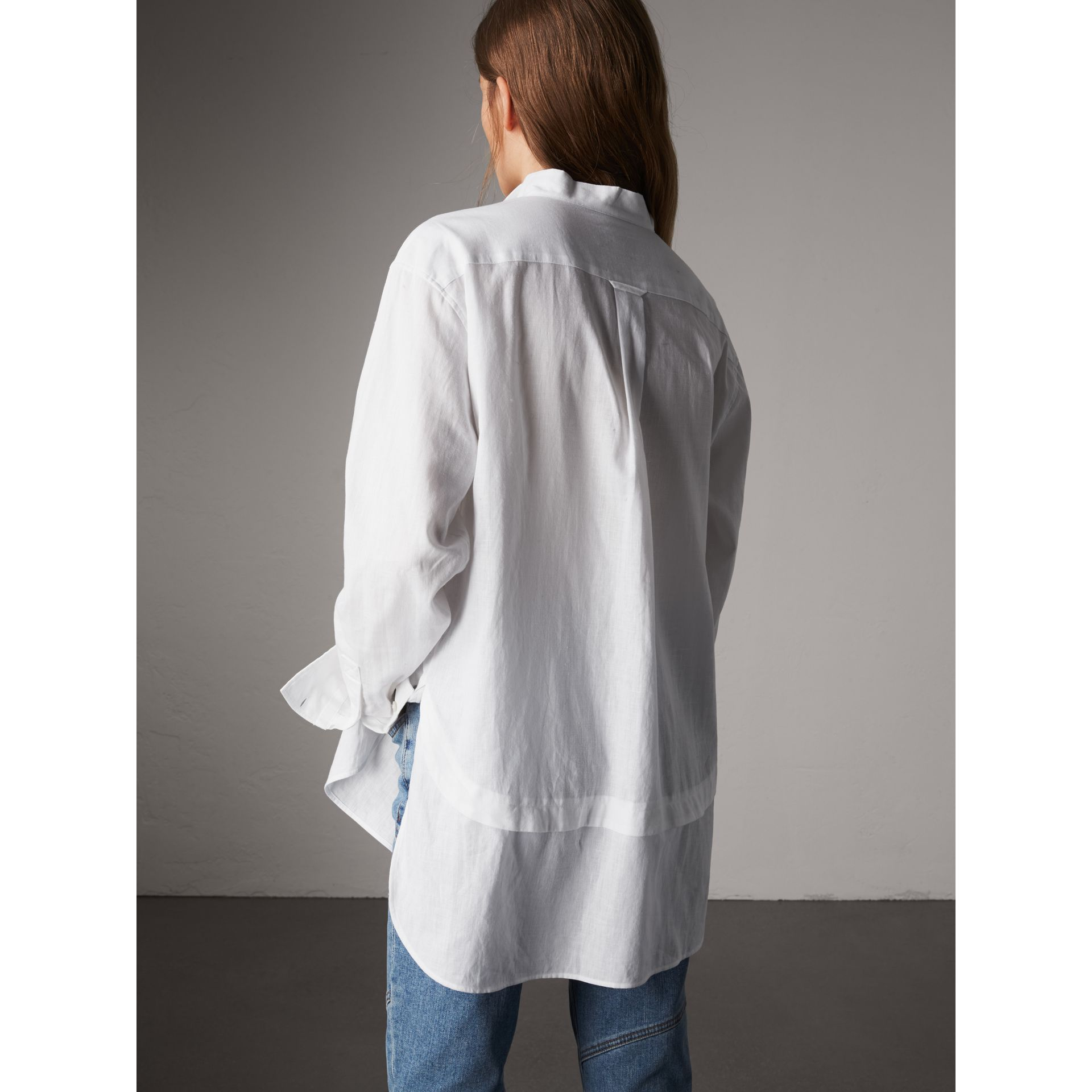 Pintuck Bib Wing Collar Longline Linen Cotton Shirt in White - Women | Burberry Australia - gallery image 3