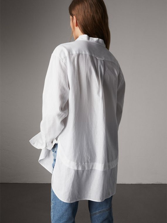 Pintuck Bib Wing Collar Longline Linen Cotton Shirt in White - Women | Burberry Australia - cell image 2