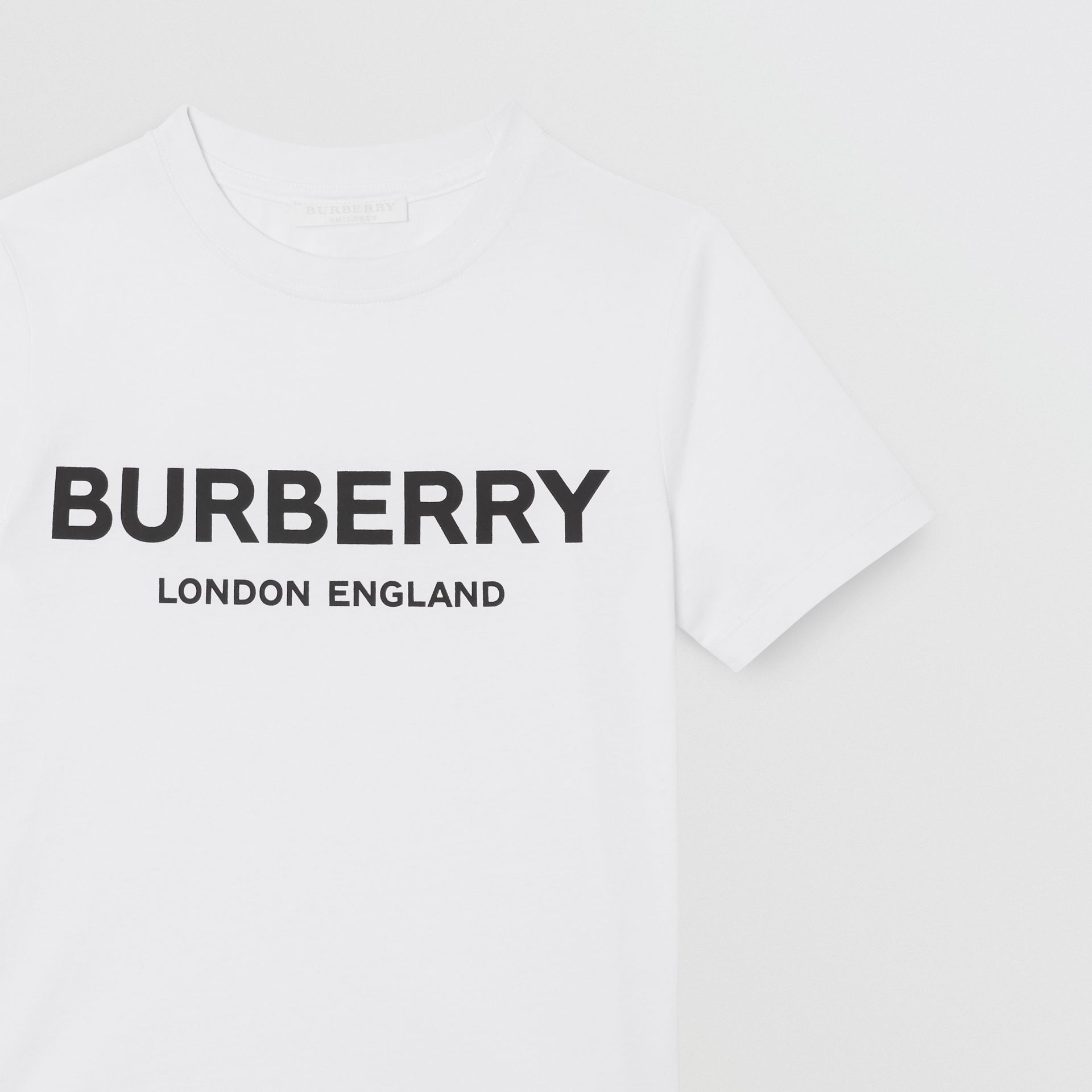 Logo Print Cotton T-shirt in White | Burberry - gallery image 6