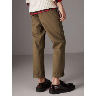 Cotton Twill Chinos - Green Burberry