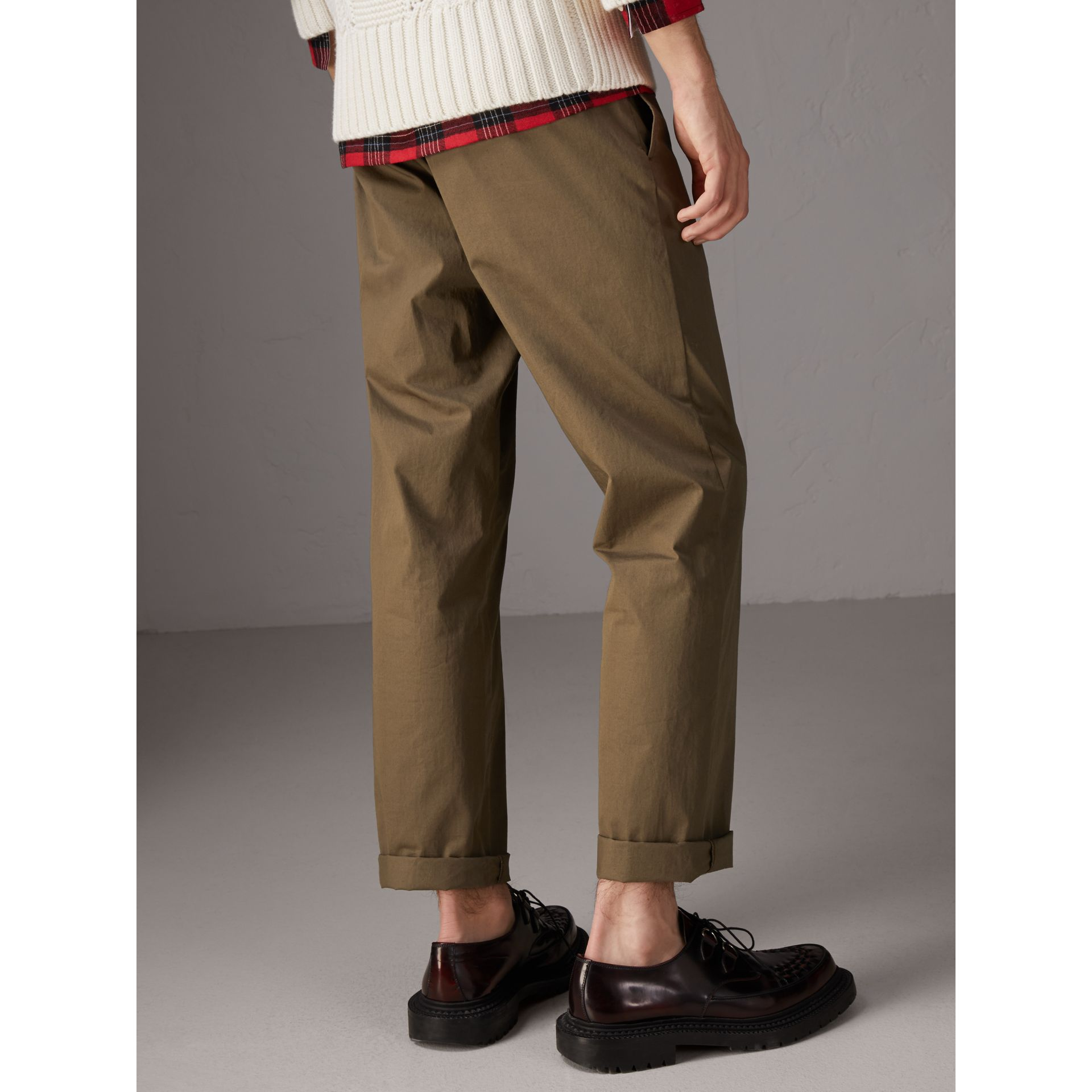 Cotton Twill Chinos in Olive Green - Men | Burberry Singapore - gallery image 1