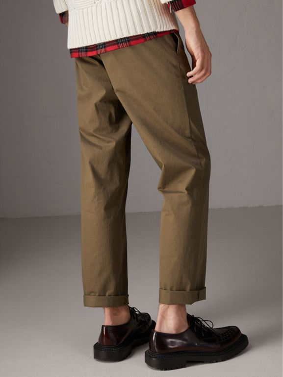 Cotton Twill Chinos in Olive Green - Men | Burberry United Kingdom - cell image 1