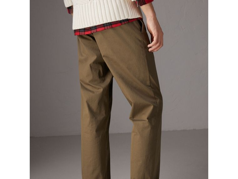 Cotton Twill Chinos in Olive Green - Men | Burberry - cell image 1