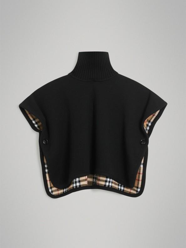 雙面兩用 Vintage 格紋美麗諾羊毛提花斗篷 (黑色)