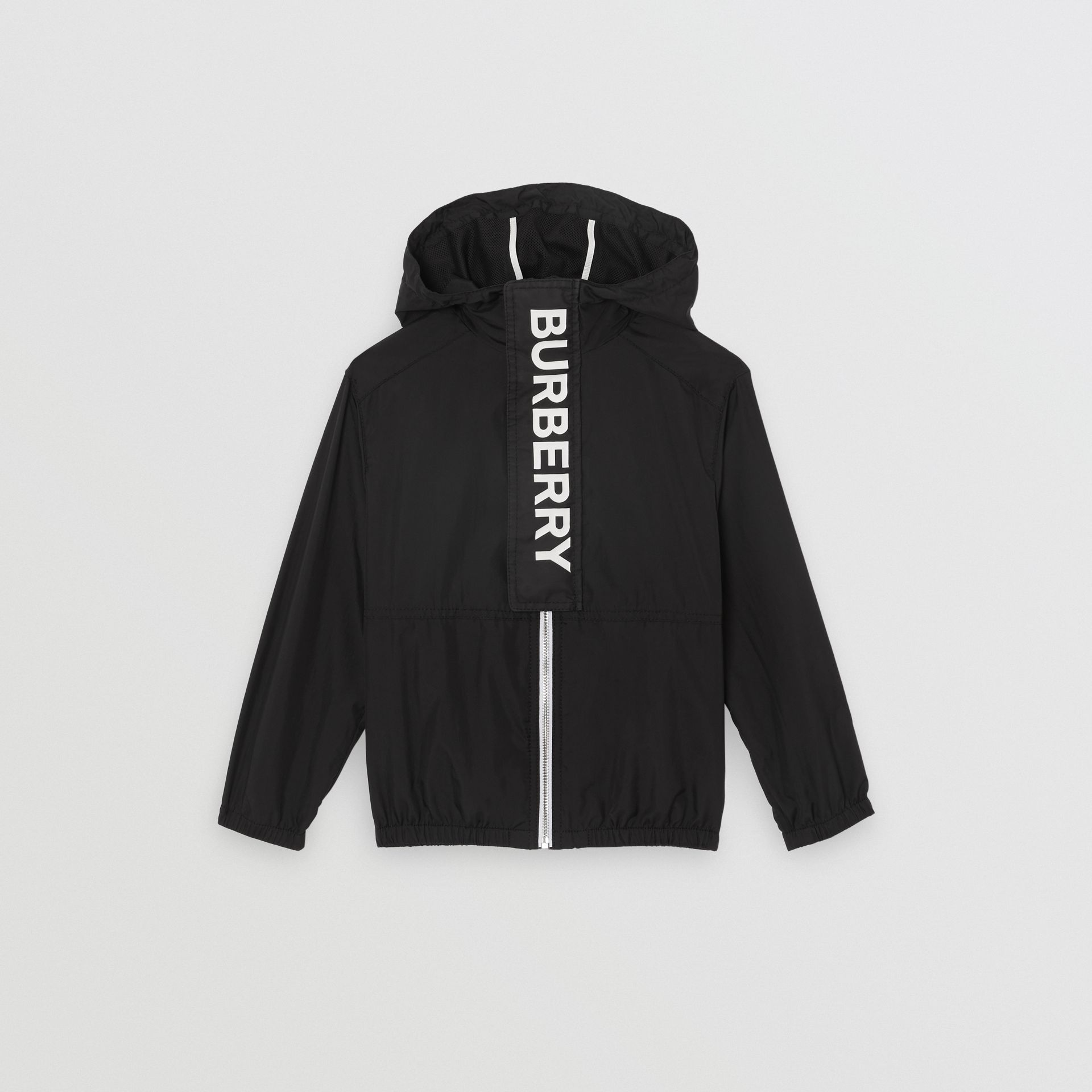 Logo Print Lightweight Hooded Jacket in Black | Burberry - gallery image 0