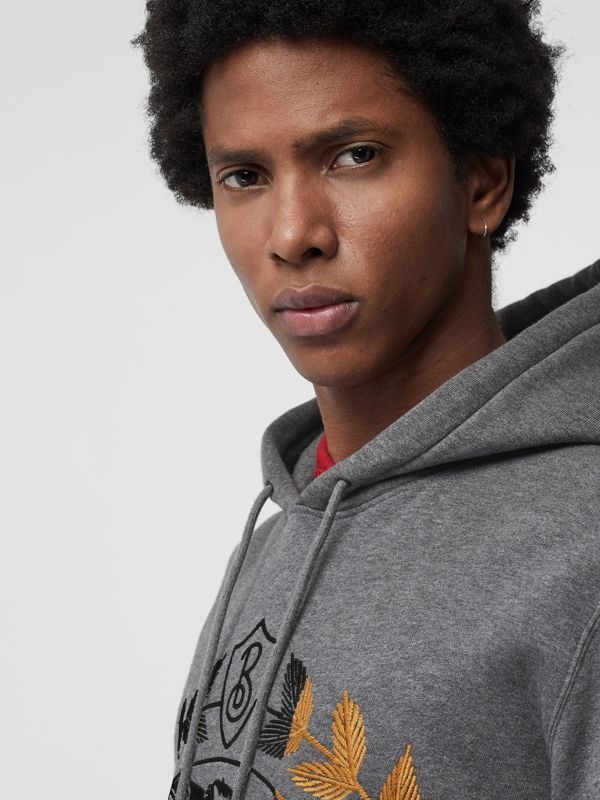 Embroidered Crest Jersey Hoodie in Mid Grey Melange - Men | Burberry - cell image 3