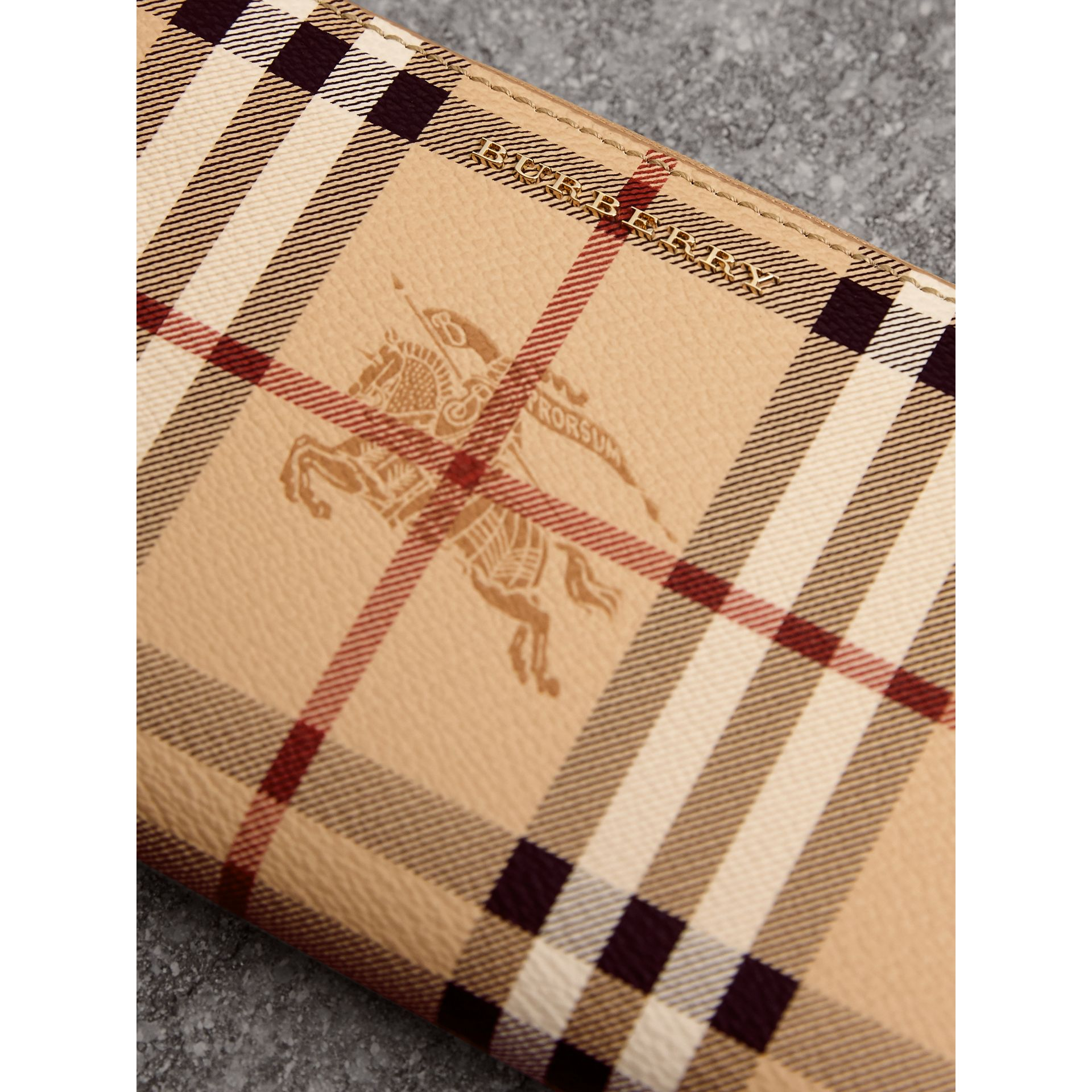 Haymarket Check and Leather Ziparound Wallet in Mid Camel - Women | Burberry United Kingdom - gallery image 1