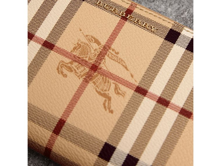 Haymarket Check and Leather Ziparound Wallet in Mid Camel - Women | Burberry United Kingdom - cell image 1
