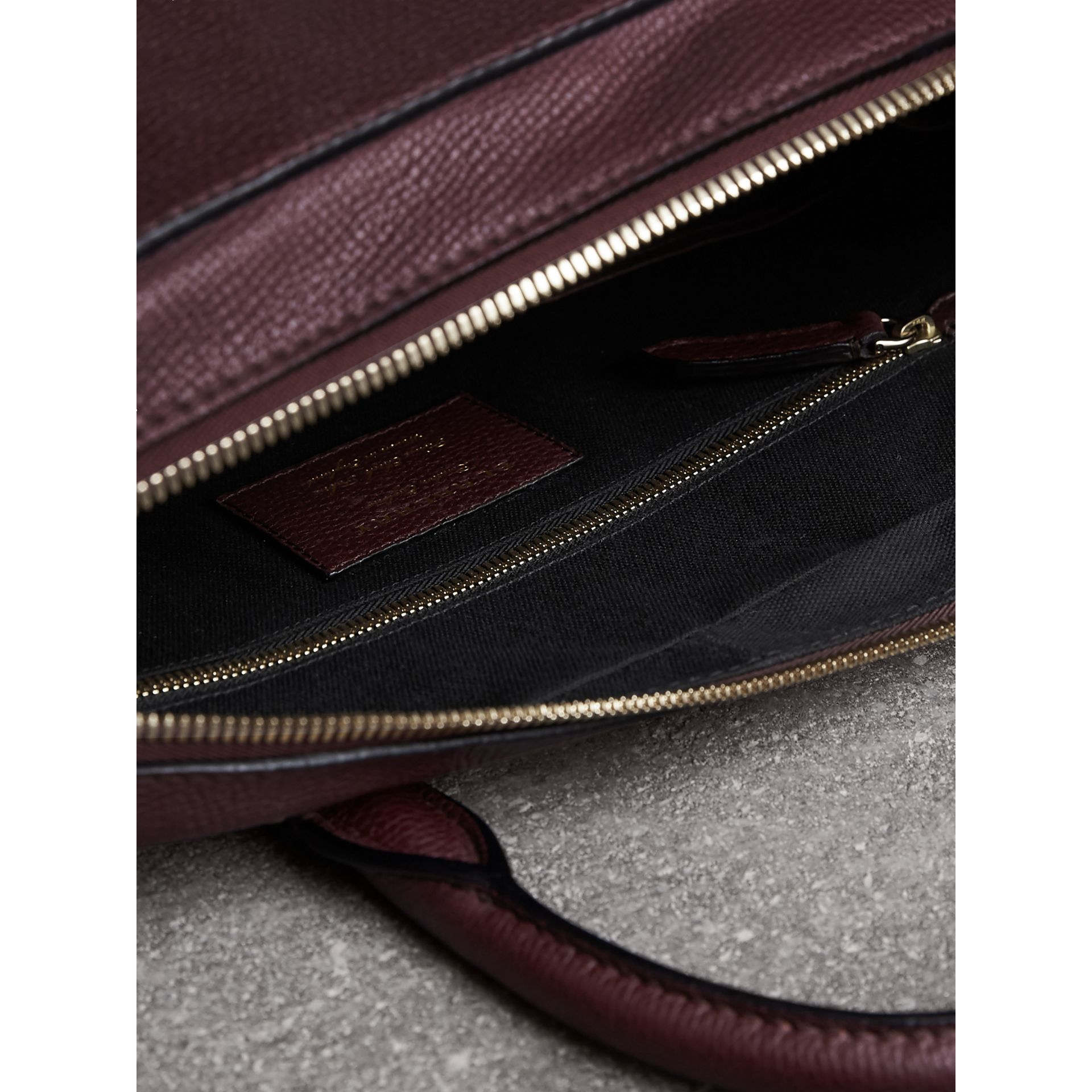 Leather and House Check Briefcase in Wine - Men | Burberry - gallery image 6