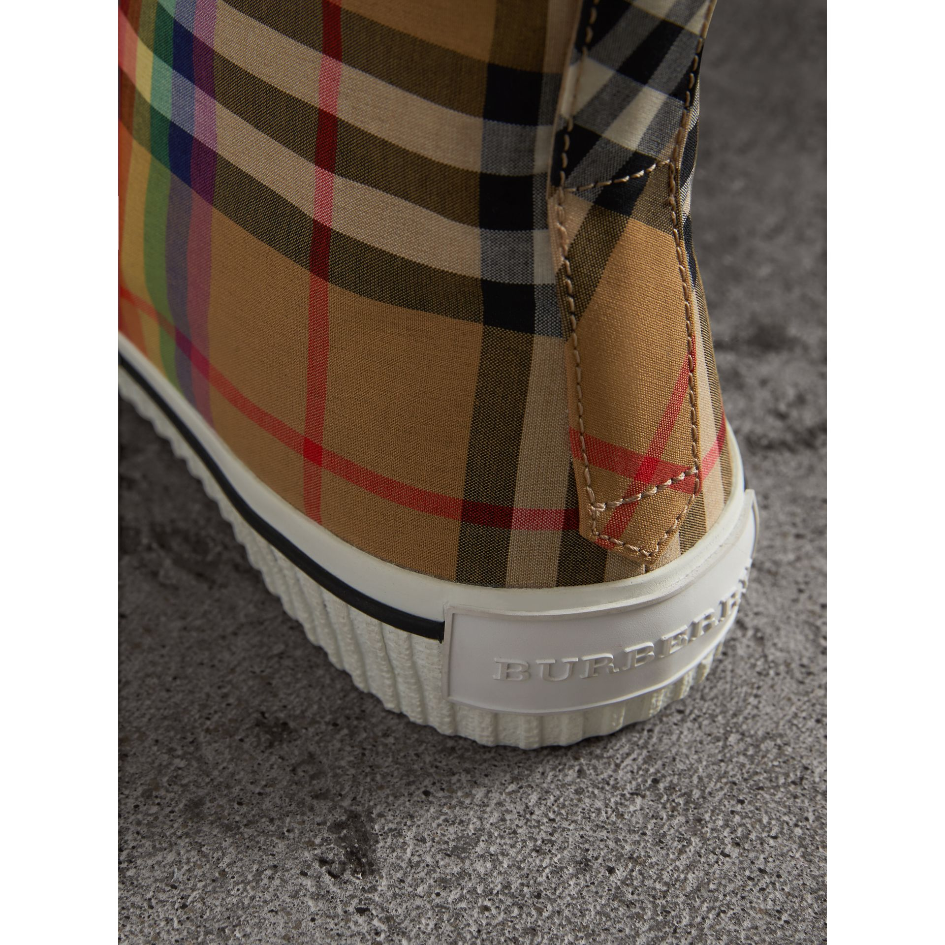 Rainbow Vintage Check High-top Sneakers in Antique Yellow | Burberry - gallery image 1