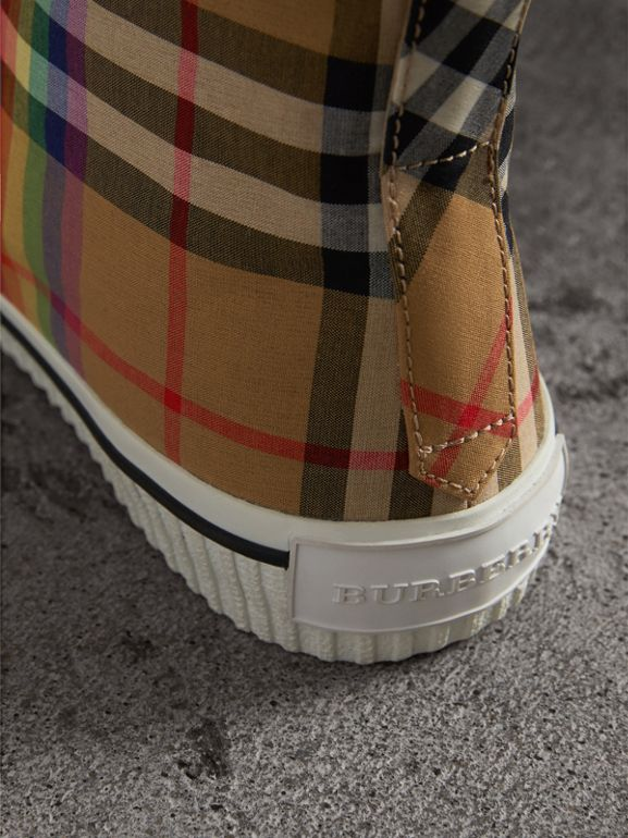 Rainbow Vintage Check High-top Sneakers in Antique Yellow | Burberry United Kingdom - cell image 1