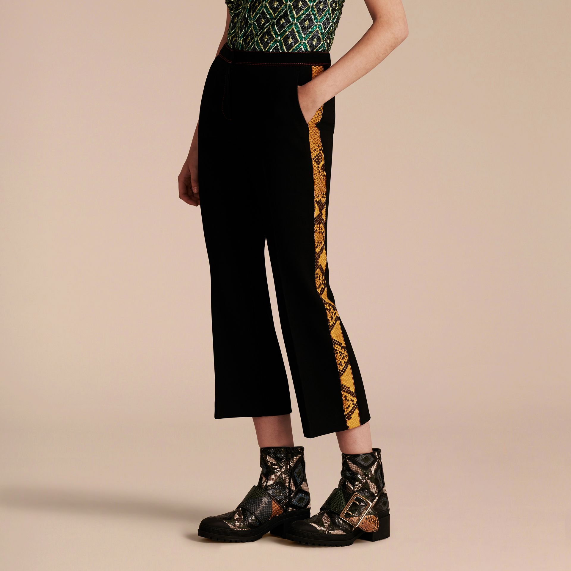 Black Python Print Trim Cropped Tailored Trousers - gallery image 1