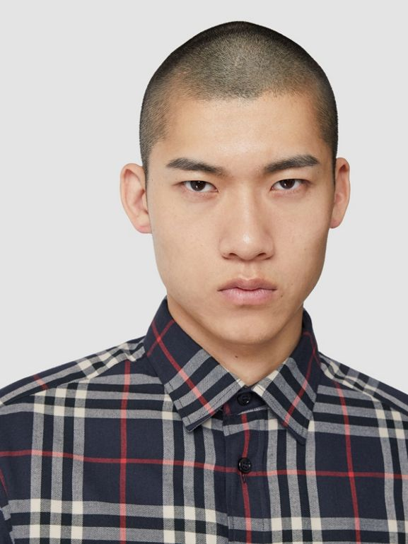 Vintage Check Cotton Flannel Shirt in Navy - Men | Burberry - cell image 1