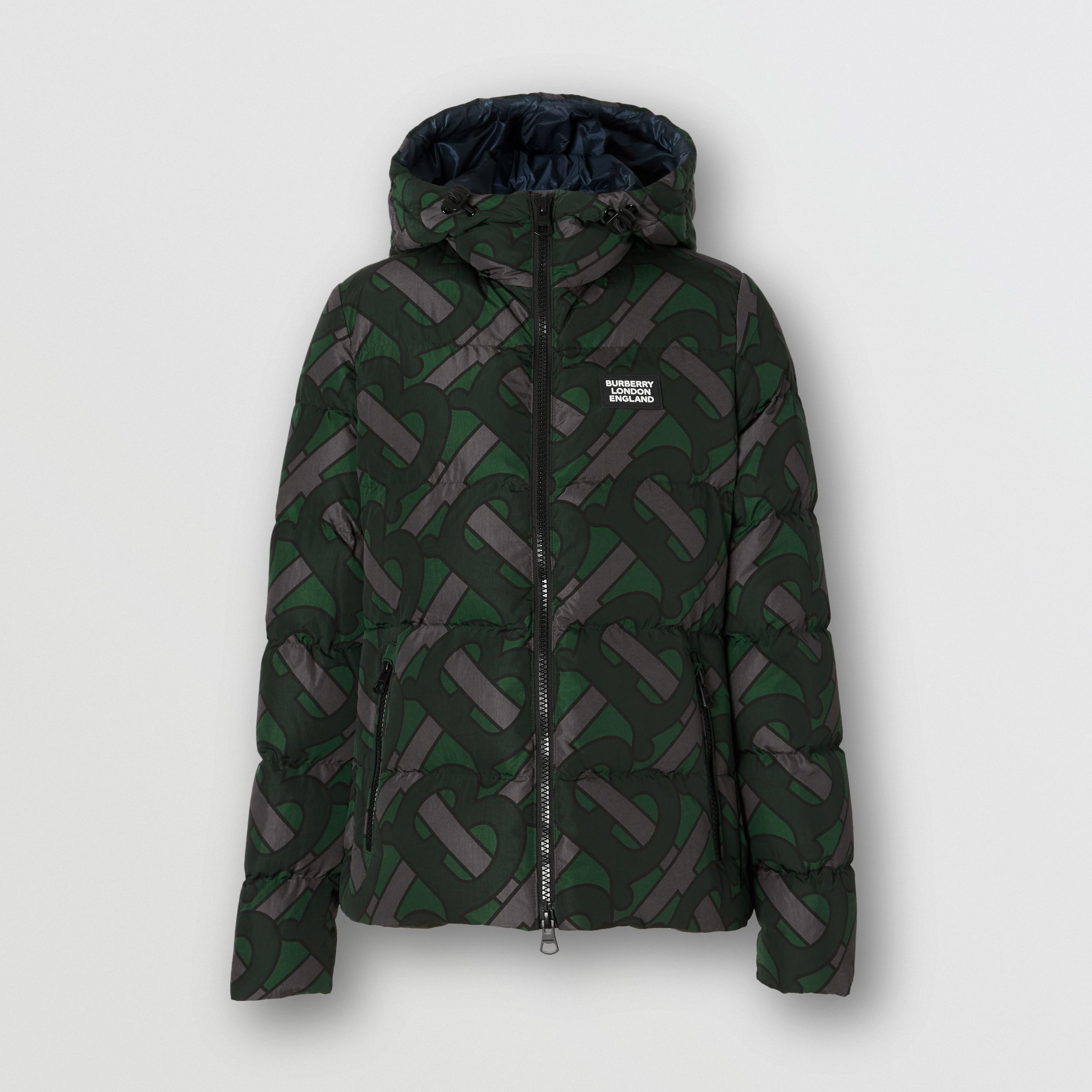 Monogram Print Hooded Puffer Jacket in Forest Green - Women | Burberry - 1