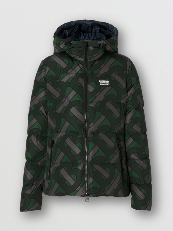 Monogram Print Hooded Puffer Jacket in Forest Green